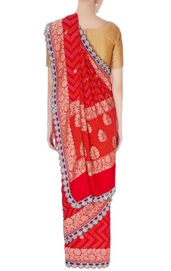 Red bandhani brocade sari