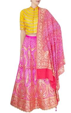 pink & yellow brocade bandhani lehenga