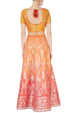 Yellow & orange bandhani lehenga