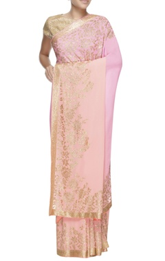 pink & peach ombre embellished sari