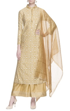 MEHRAAB Beige kurta with silver gota work set