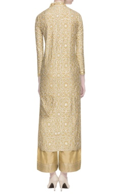 Beige kurta with silver gota work set