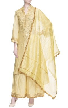 Yellow embroidered kurta & palazzos