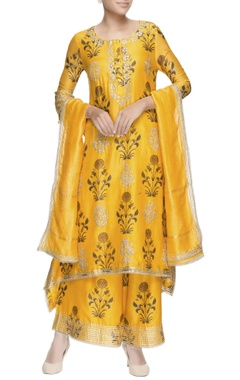 Sunset yellow asymmetric kurta set
