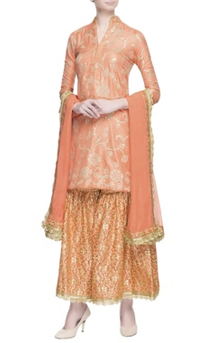 MEHRAAB Peach gota embroidered kurta set