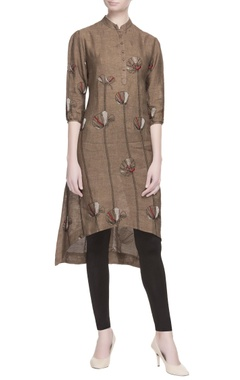 brown floral high low kurta