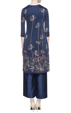 blue chanderi embroidered kurta