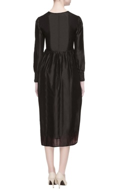 black chanderi silk midi dress