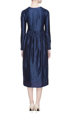 blue chanderi silk midi dress