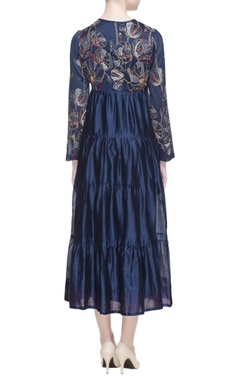 electric blue chanderi tiered dress