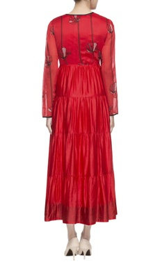 red tiered style maxi dress