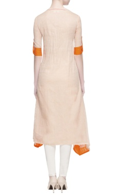 beige & orange cotton kurta