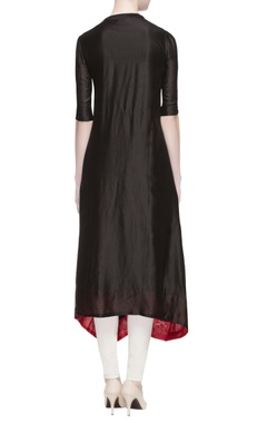 black chanderi embroidered kurta