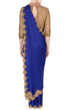 Blue satin saree with zardozi cutwork blouse