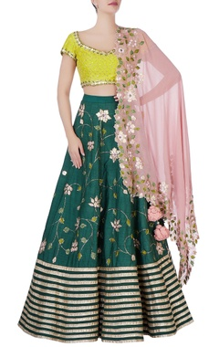 green zardosi embroidered lehenga set