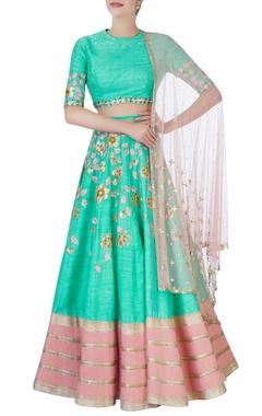 sea green & pink embroidered lehenga set
