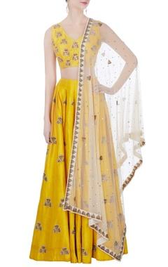 Yellow raw silk lehenga set