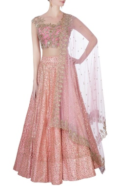 Pink sequin embellished lehenga set