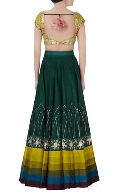 Green & yellow embroidered lehenga set