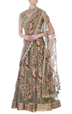 green anarkali with attached dupatta