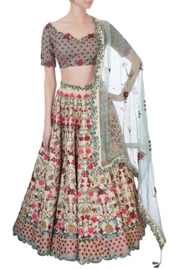 Multicolored tussar silk lehenga set