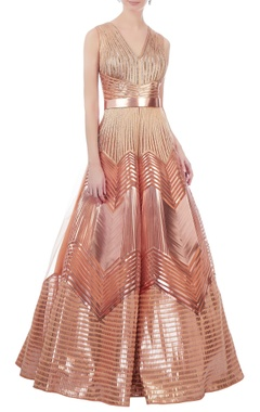 Rose gold recycled polymer structural ball gown