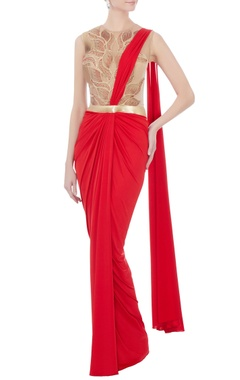 Amit Aggarwal red & beige sari gown