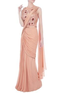 Amit Aggarwal Rose pink chiffon sari gown