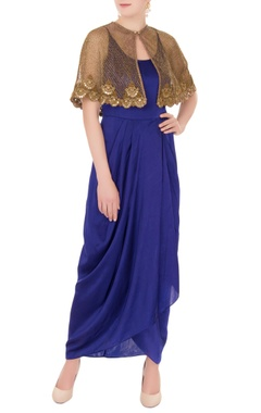 Anand Kabra Blue satin spaghetti strap dress with zardozi cutwork cape
