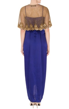 Blue satin spaghetti strap dress with zardozi cutwork cape