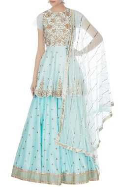 Mishru Blue embroidered lehenga set