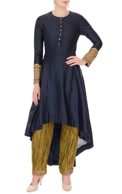 Anand Kabra Black chanderi high-low kurta with pants
