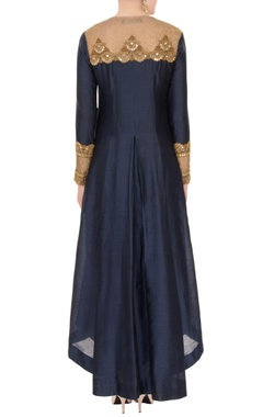 Black chanderi high-low kurta with pants