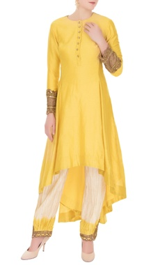 Anand Kabra Yellow chanderi high-low kurta with salwar pants