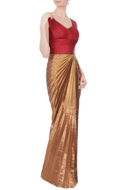 Red & antique copper pleated gown