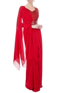 Amit Aggarwal Red chiffon bead draped sari gown