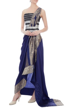 Amit Aggarwal Ink blue brocade bohemian sari gown