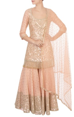 Abhinav Mishra Peach raw silk sequin kurta set