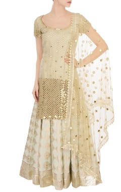 Abhinav Mishra Beige mirror work kurta set