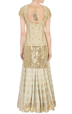 Beige mirror work kurta set