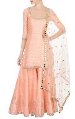 Abhinav Mishra Peach raw silk mirror kurta set