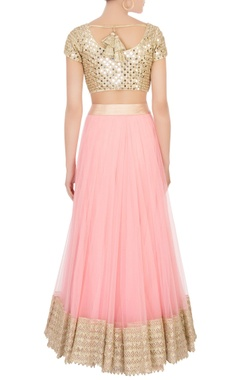 Pink flared net lehenga with blouse