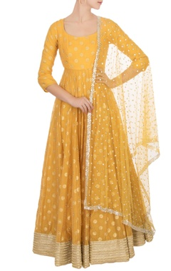 Abhinav Mishra Orange chanderi anarkali with dupatta