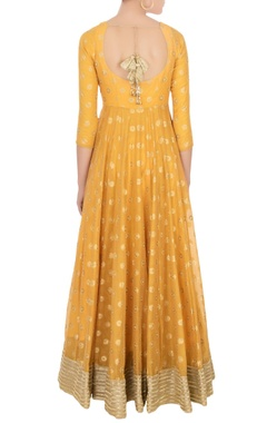 Orange chanderi anarkali with dupatta