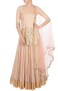 coral pink gold sequin kurta set