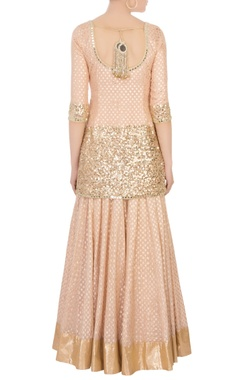 Coral pink gold sequin kurta set