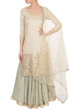 Abhinav Mishra Off-white sequin kurta set