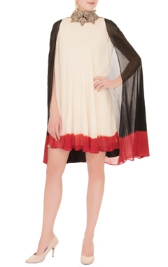 Anand Kabra Beige flowy mini dress with zardozi cape