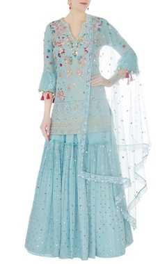 Frost blue embroidered kurta with sharara and dupatta