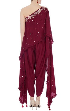Wine embellished kurta with dhoti pants